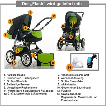 14 teiliges Qualitäts-Kinderwagenset 2 in 1
