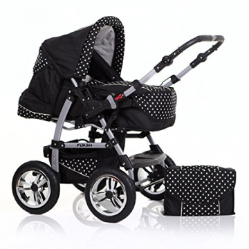 "14 teiliges Qualitäts-Kinderwagenset 2 in 1 ""FLASH"": Kinderwagen + Buggy - Megaset - all inklusive Paket in Farbe SCHWARZ-POLKA -"