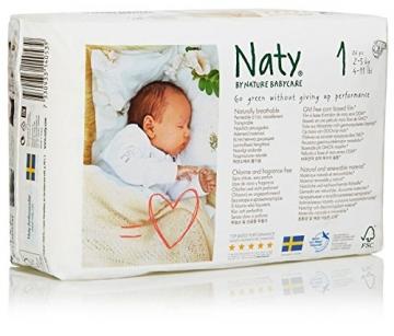 Naty by Nature Babycare Ökowindeln - Größe 1 Newborn, 2-5 kg, 2er Pack (2*26 Stück) -