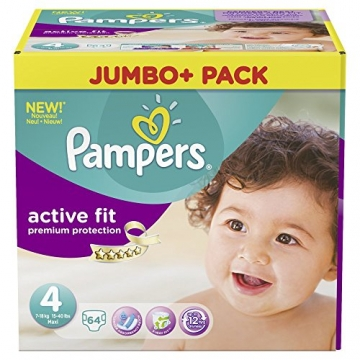 Pampers Active Fit Größe 4 Maxi 7-18kg Jumbo Plus Pack (1 x 64 Windeln) -