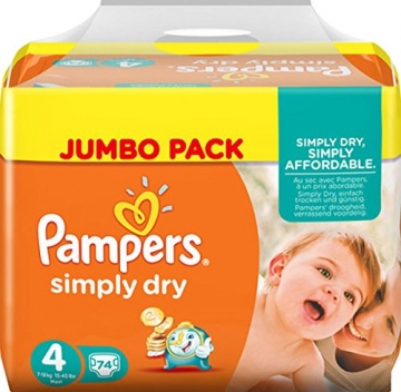 Pampers Simply Dry Gr.4 Maxi 7-18kg Jumbo Pack 1 x 74 Stück -
